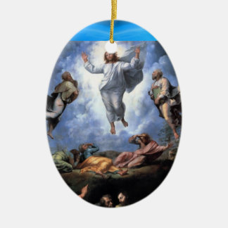 TRANSFIGURATION OF JESUS Double-Sided OVAL CERAMIC CHRISTMAS ORNAMENT
