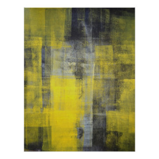'Transform' Black and Yellow Abstract Art Print