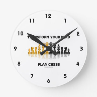 Transform Your Mind Play Chess (Reflective Chess) Round Wall Clock