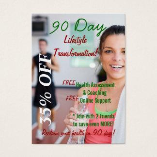 transformación 2 de la forma de vida de 90 días tarjeta de negocios