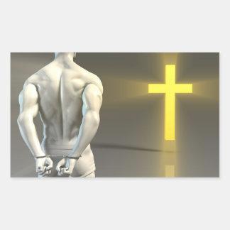 Transformación religiosa al cristianismo pegatina rectangular