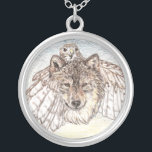 """Transformation Wolf Silver Plated Necklace<br><div class=""""desc"""">Wolf with a Hawk Transforming.</div>"""