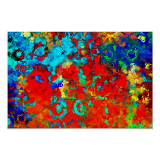 Transformations XVII Red Blue Yellow Abstract Poster