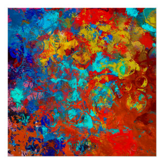 Transformations XXI Blue Red Teal Abstract Poster