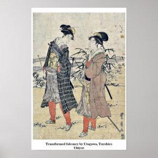 Transformed falconry by Utagawa, Toyohiro Ukiyoe Posters
