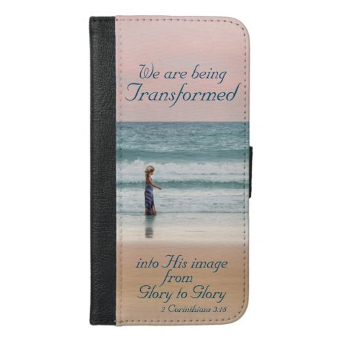 Transformed into His Image Bible, Girl on Beach Phone Case