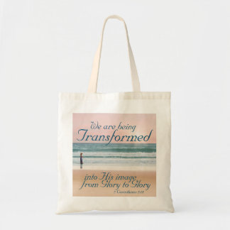 Transformed into His Image Bible, Girl on Beach Tote Bag
