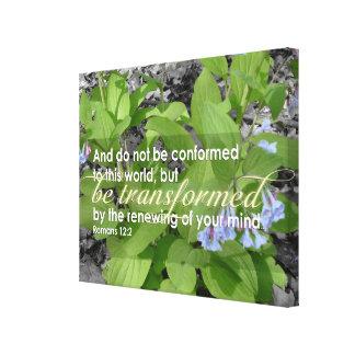 Transformed Romans 12:2 Christian Bible Floral Canvas Print
