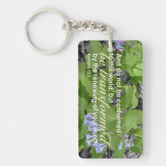 Transformed Romans 12:2 Christian Bible Floral Keychain
