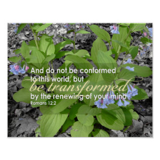 Transformed Romans 12:2 Christian Bible Floral Poster