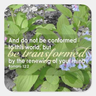 Transformed Romans 12:2 Christian Bible Floral Square Sticker