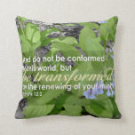 Transformed Romans 12:2 Christian Bible Floral Throw Pillow