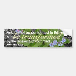 Transformed Romans 12:2 Christian Bible Verse Car Bumper Sticker