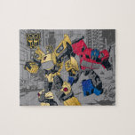 "Transformers | Bumblebee & Optimus Prime In City Jigsaw Puzzle<br><div class=""desc"">Check out our favorite Transformers duo Optimus Prime and Bumblebee in the city,  stylized with faux metallic foil colors!</div>"