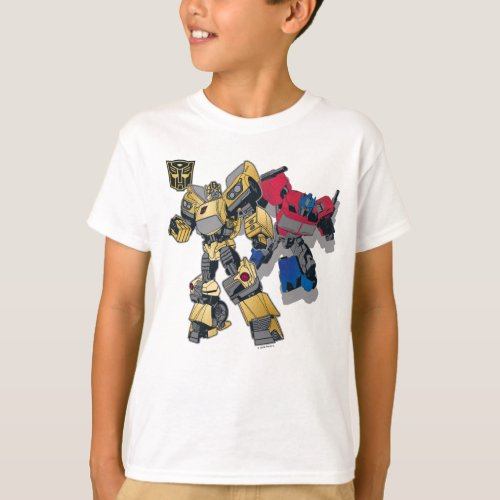 Transformers  Bumblebee  Optimus Prime In City T_Shirt