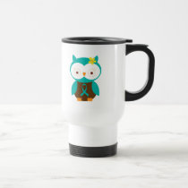 Transgeminal Neuralgia Teal Ribbon Awareness Owl Travel Mug