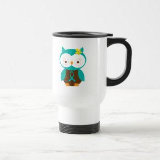 Transgeminal Neuralgia Teal Ribbon Awareness Owl Travel Mug