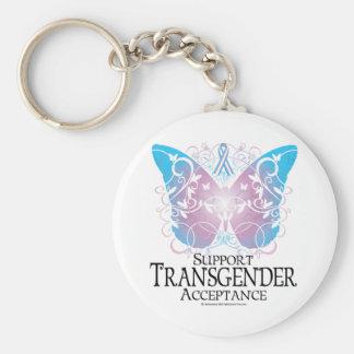 Transgender Butterfly Basic Round Button Keychain