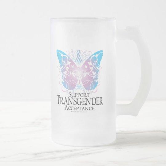 Transgender Butterfly Frosted Glass Beer Mug