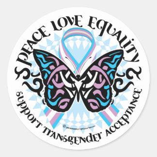 Transgender Butterfly Tribal Classic Round Sticker
