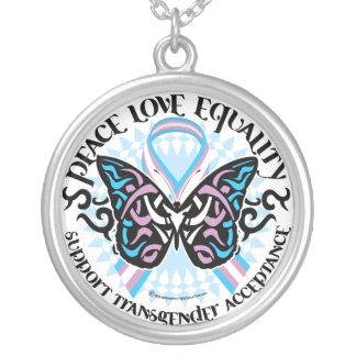 Transgender Butterfly Tribal Round Pendant Necklace