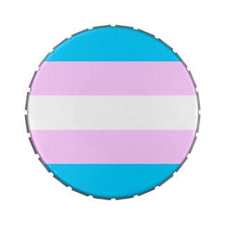Transgender flag candy tins