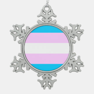 Transgender flag snowflake pewter christmas ornament