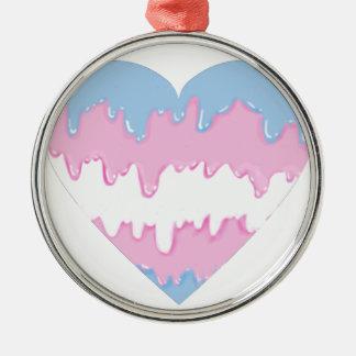 transgender heart metal ornament