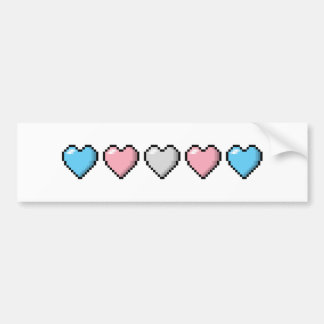 Transgender Pixel Hearts Bumper Sticker