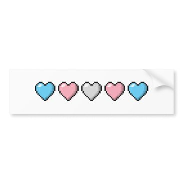 Valentines Themed Transgender Pixel Hearts Bumper Sticker