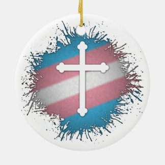 Transgender Pride Cross Ceramic Ornament