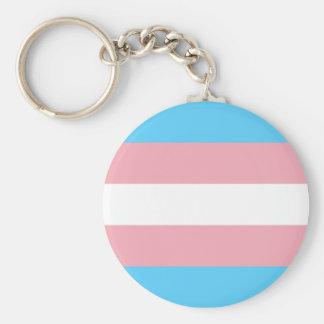 Transgender Pride Flag Basic Round Button Keychain