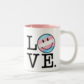 Transgender Pride Flag Love Two-Tone Coffee Mug