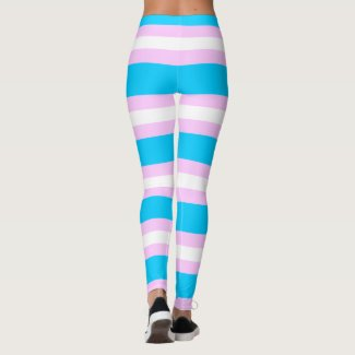 Transgender Pride Flag - Pink, Blue, White Stripe Leggings