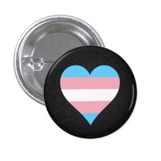 Transgender pride heart black button