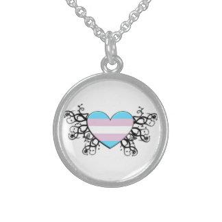 Transgender Pride Heart Sterling Silver Necklace