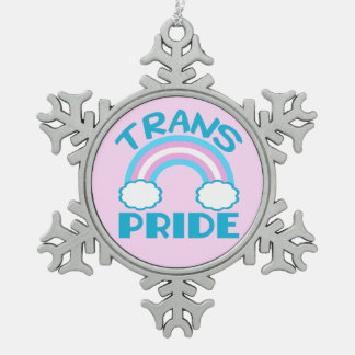 Transgender Pride Snowflake Pewter Christmas Ornament