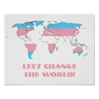 Transgender pride world map poster print