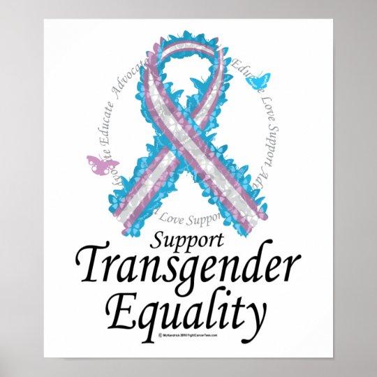 Transgender Ribbon Of Butterflies Poster