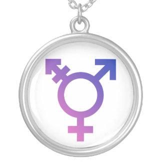 Transgender Symbol Logo Round Pendant Necklace