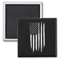 Transgender Thin Line American Flag Magnet