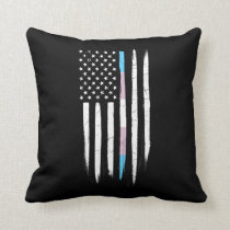 Transgender Thin Line American Flag Throw Pillow