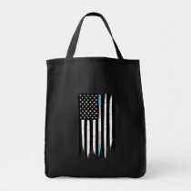 Transgender Thin Line American Flag Tote Bag