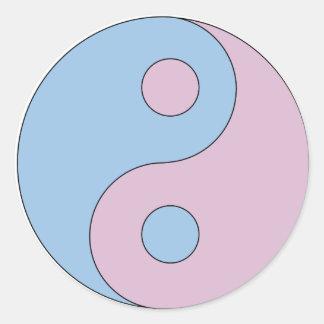 Transgender Yin Yang Symbol Classic Round Sticker