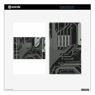 TRANSHUMANISM: Abstract B/W circuit pattern. Decals For Kindle Fire