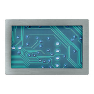 TRANSHUMANISM: Abstract BLUE circuit pattern. Belt Buckle