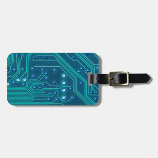 TRANSHUMANISM: Abstract BLUE circuit pattern. Luggage Tag