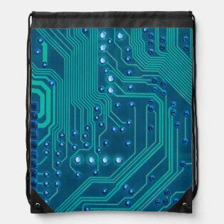 TRANSHUMANISM: Abstract NEON circuit pattern. Drawstring Backpack