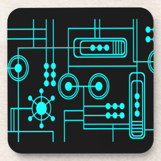 TRANSHUMANIST digital pattern Nº1 Beverage Coaster