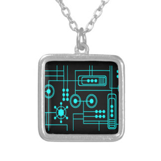 TRANSHUMANIST digital pattern Nº1 Silver Plated Necklace